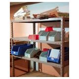 Metal shelf, closet shelving, plastic bins