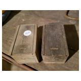 2 small dove tailed sliding lid boxes