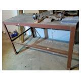 Metal framed, wood top shop table