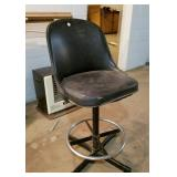 Padded bar stool, black with foot ring