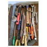 Hand tools, rasps, files, hammers, hack saw, wrens