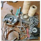 Plum bob, wire brush, openers, oil wrench