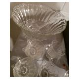 Glass punch bowl set with 11 cups and ladle