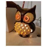 "Night light owl, ceramic, yellow eyes, 7"" tall"