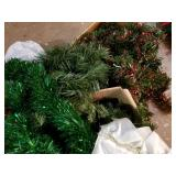 Garland, tinsel and tree skirt