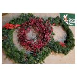 Wreaths (3) and Happy Holidays Door Mat