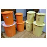 Tupperware canister sets orange and yellow