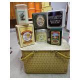 Picnic basket and decorative tins
