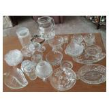 Clear pressed glass dishes, pitcher, cups