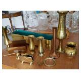 Brass and copper vases, candle snuffer