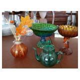 Colored glass compotes, etched pitcher
