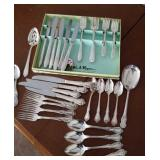 Silver plated flatware, 2 patterns and extras