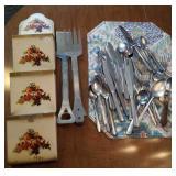 Metal hanging letter box, PK lumber grill utensils