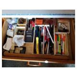 Kitchen office drawer, pens markers, calculators