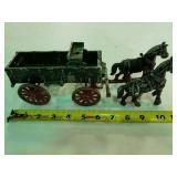 Cast metal horse drawn wagon