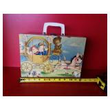 Vintage childs suitcase with dolls & clothes