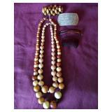 Wood bead jewelry & barrettes
