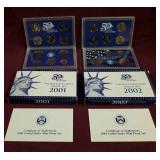 2001 & 2002 US Mint Proof sets