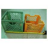 2 heavy plastic milk crates