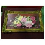 Framed canvas floral by L. Waters