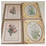 4 framed vintage florals