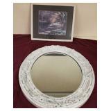 "28"" oval mirror & cottage print"