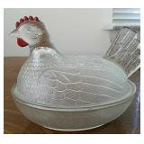 Hen on nest covered dish, Indiana Glass
