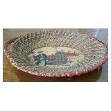 Vintage Harvard College Woven basket