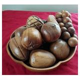 Wooden fruit and bowl