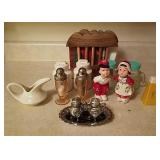 Salt and pepper shakers and napkin holder