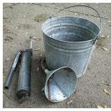 Galvanized bucket & funnel
