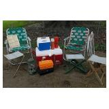 Coolers, lawn chairs, lantern
