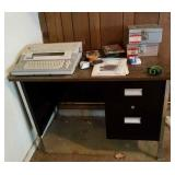 2 drawer metal desk, typewriter and table