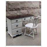 Refinished Solid Wood Vintage Desk and Chair