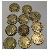 11 Buffalo Indian Head Nickels
