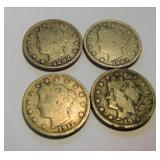 4 V-Nickels 1902,1903,1912(2)