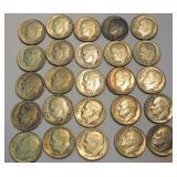 25 Silver Dimes 1964 & Under,  Roosevelt