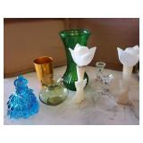 Glass vase, candle holders