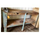 Metal work bench, heavy duty with wood top