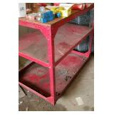 Red Metal Roller Cart, sturdy