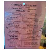 Carmel Theatre Schedule for 1 - 1972