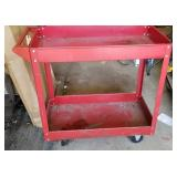 Red Metal Cart on casters with bottom shelf