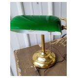 Desk lamp with green glass lamp shade