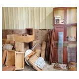 Wood cabinets, drawers, lumber, hardware
