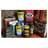 Metal cans of oils and fluids - some vintage
