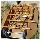 Croquet set, 6 mallets, 2 stakes, cart