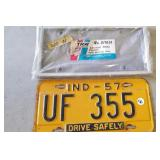 1957 Indiana License plate & holder