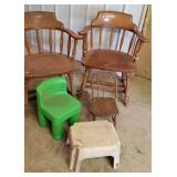 Chairs, 2 adult curved back, wood child