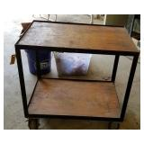 Roller Cart with wood top and shelf