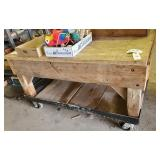 Work bench on casters - heavy wood frame
